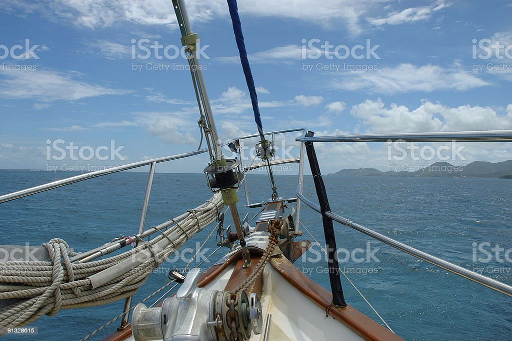 Bow Sprit of Sailboat stock photo