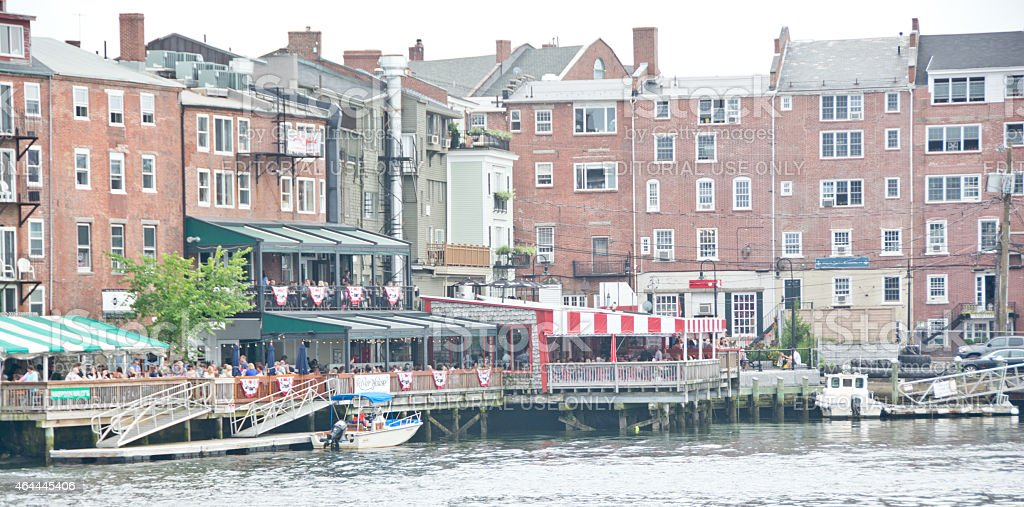 Bow St restaurants from the Piscataway River stock photo