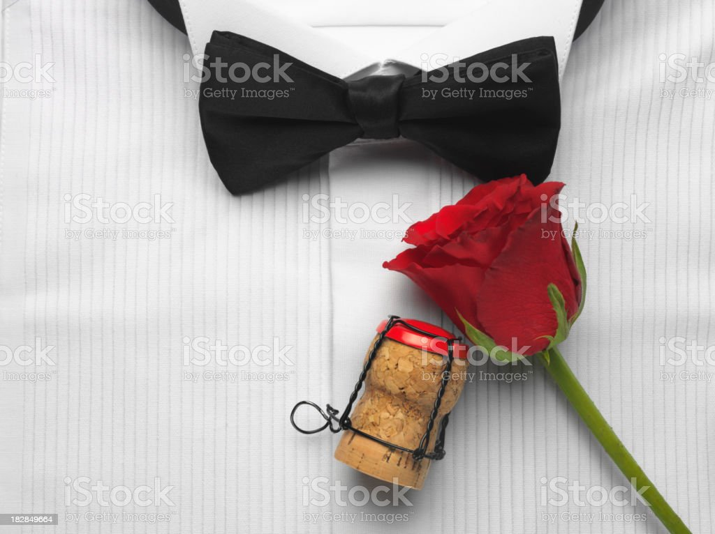 Bow Tie and Champagne Cork stock photo