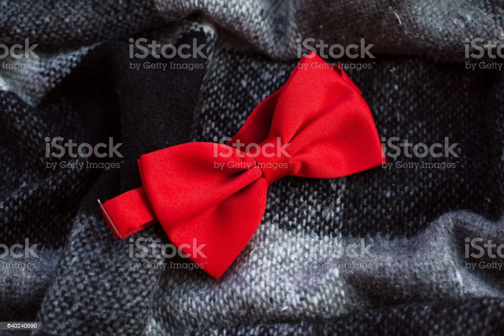 Bow tie on a plaid stock photo