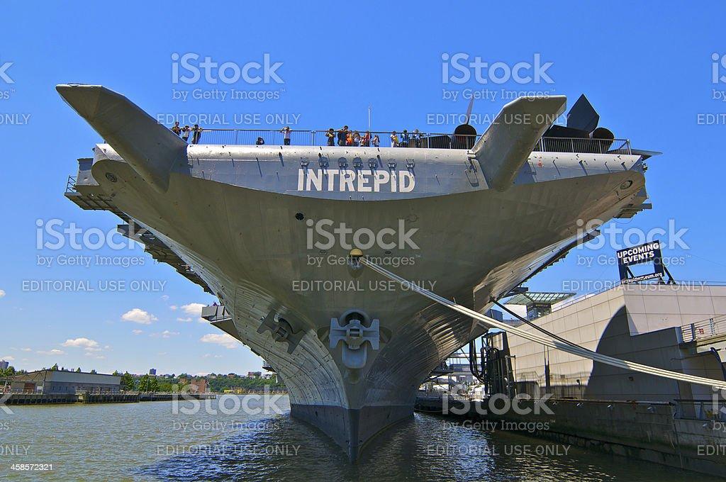 U.S.S. INTREPID bow view at dock, Manhattan, New York City stock photo