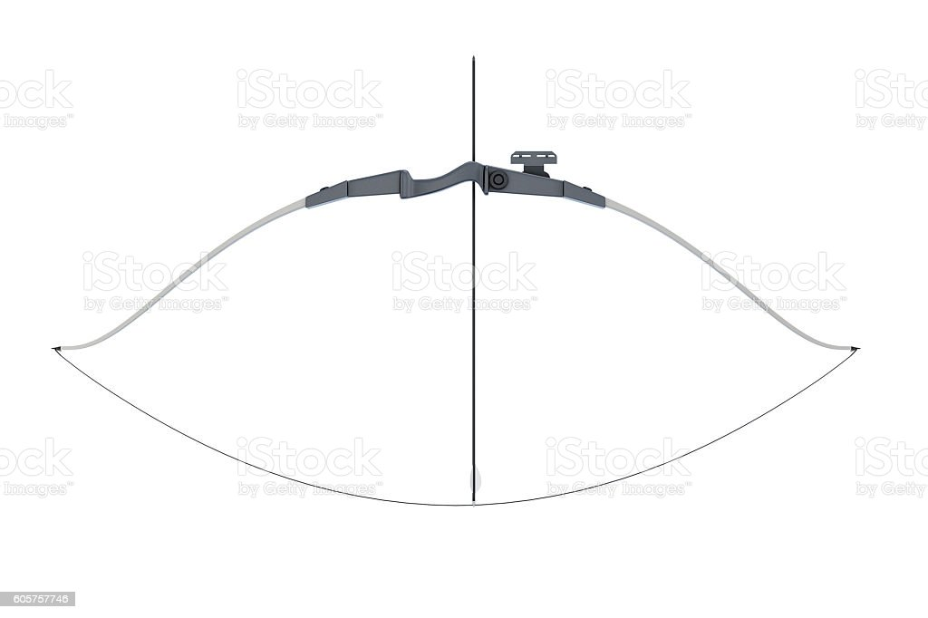 Bow with a tight bowstring isolated on white background stock photo