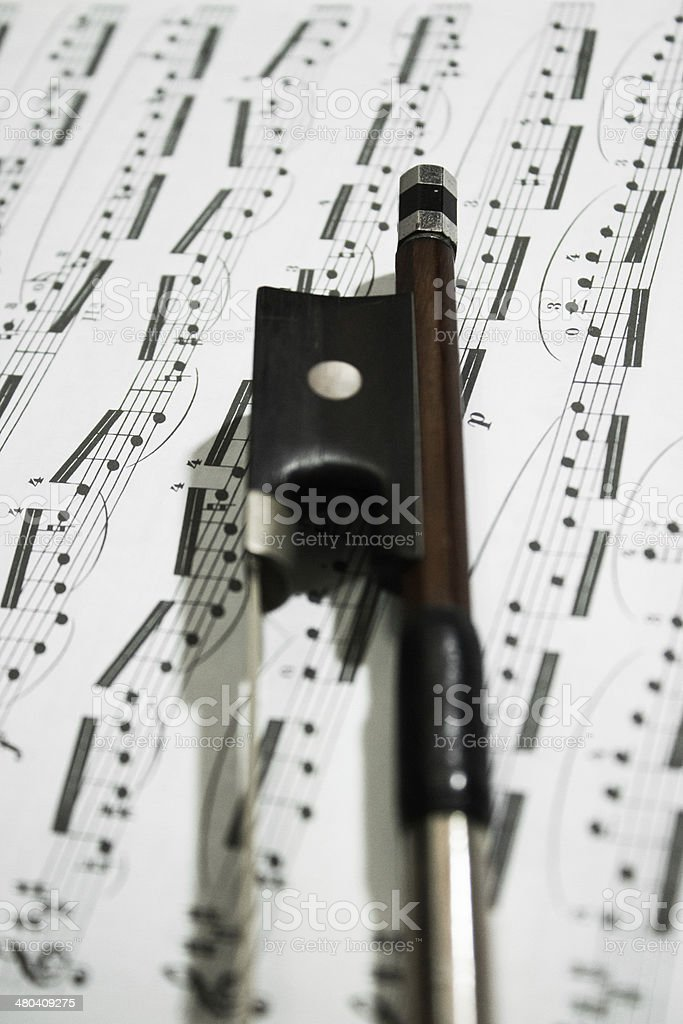 Bow with Sheet Music royalty-free stock photo