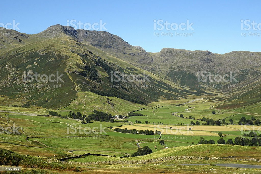 Bowfell and Mickleden in the English Lake District stock photo