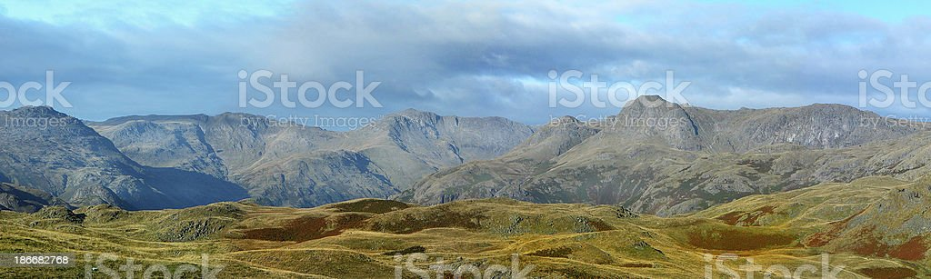 Bowfell and the Langdales stock photo