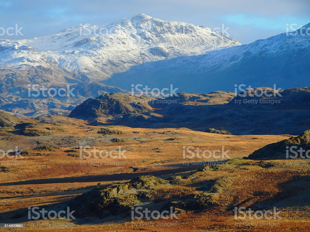 Bowfell from Birker Fell Lake District Cumbria stock photo
