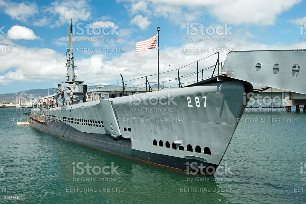 USS Bowfin submarine in Pearl Harbor museum stock photo