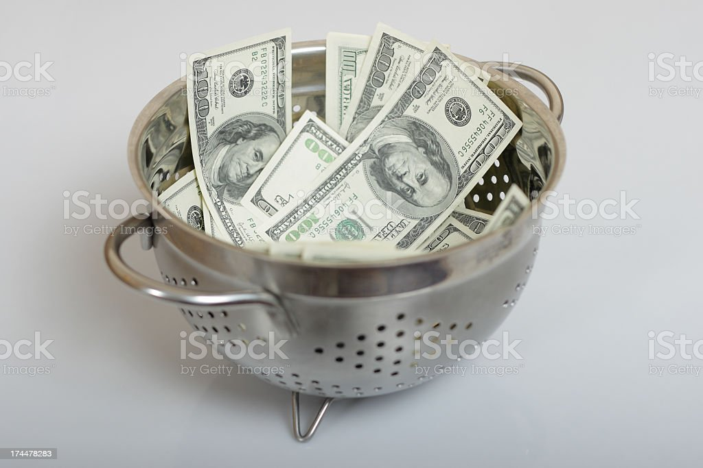 bowl, dollars, one hundred royalty-free stock photo