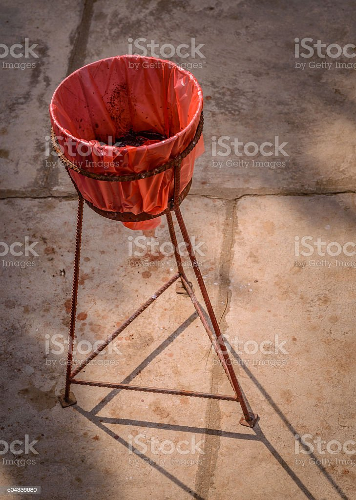 Bowl for betel or paan spit in South-east Asia stock photo