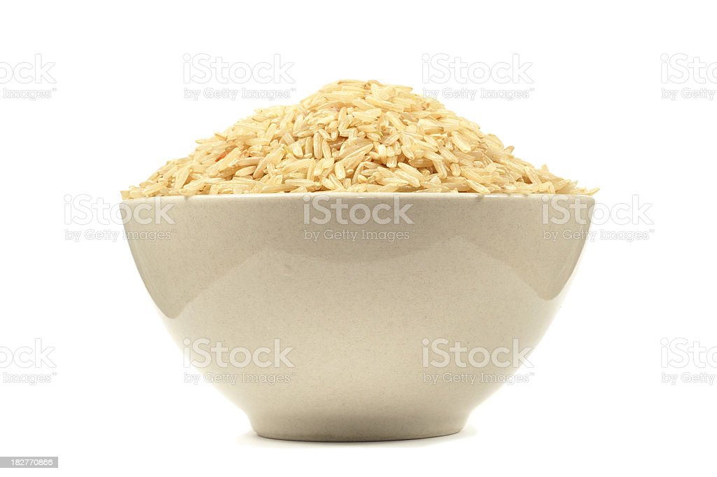 Bowl Full of Brown Rice royalty-free stock photo