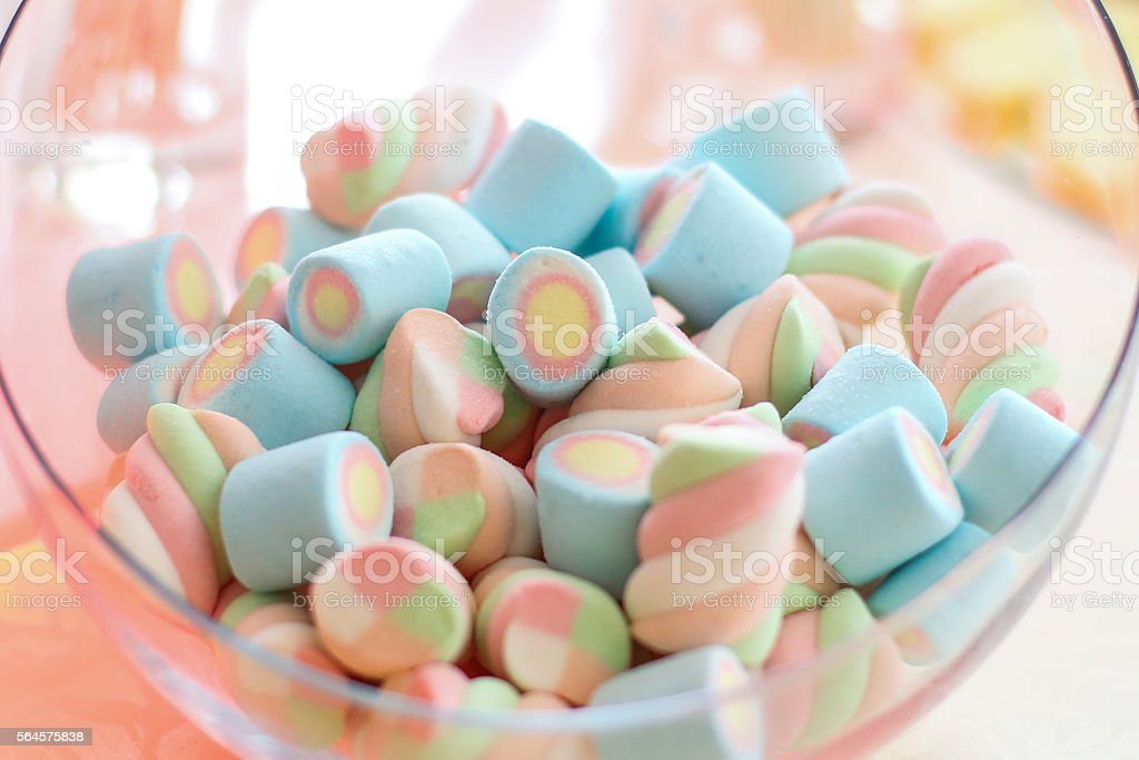 Bowl full of colorful pastel marchmallows stock photo