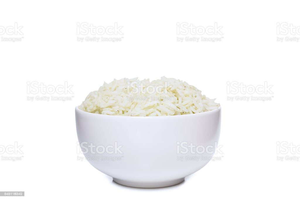 Bowl full of herb rice isolated on white stock photo