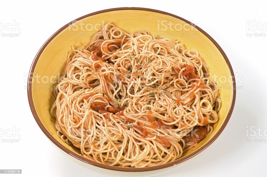 Bowl full of spaghetti stock photo