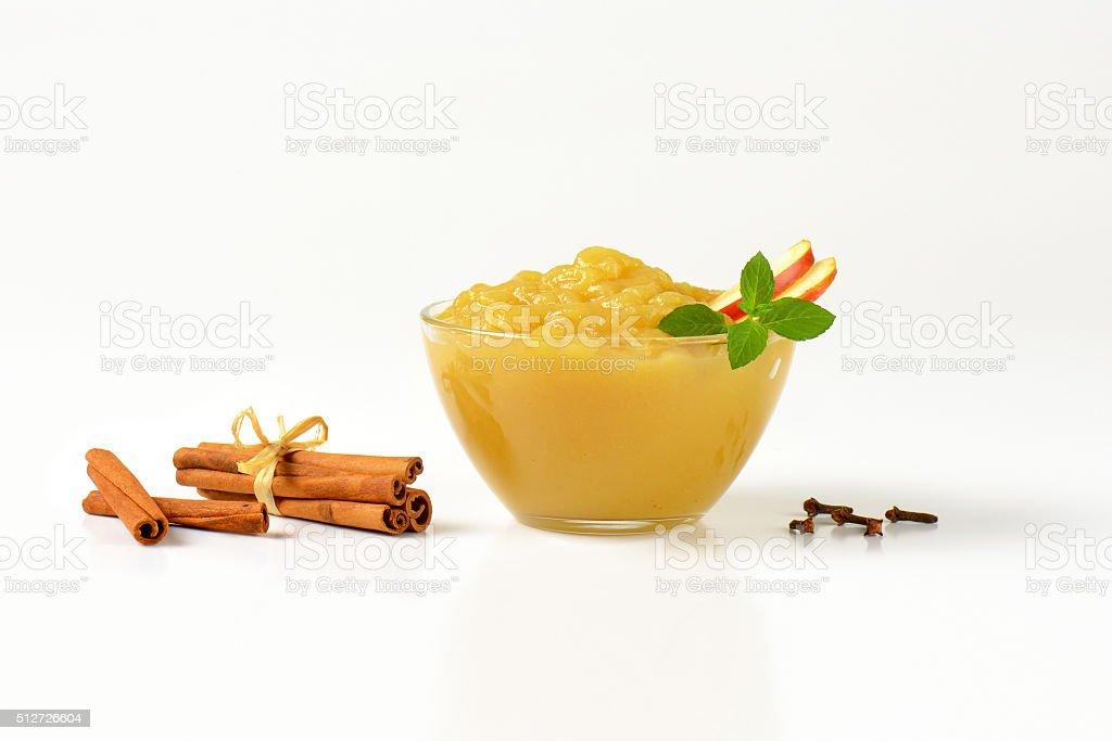 bowl of apple sauce stock photo