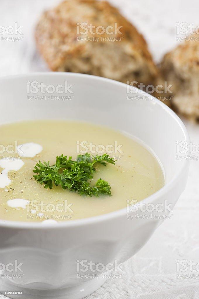 bowl of asparagus soup stock photo