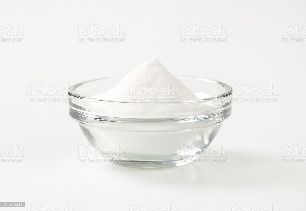 bowl of baking soda stock photo
