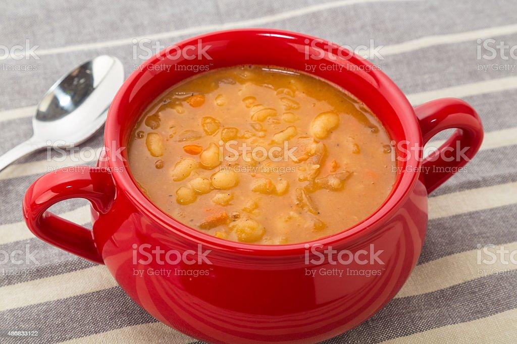 Bowl of Bean Soup stock photo