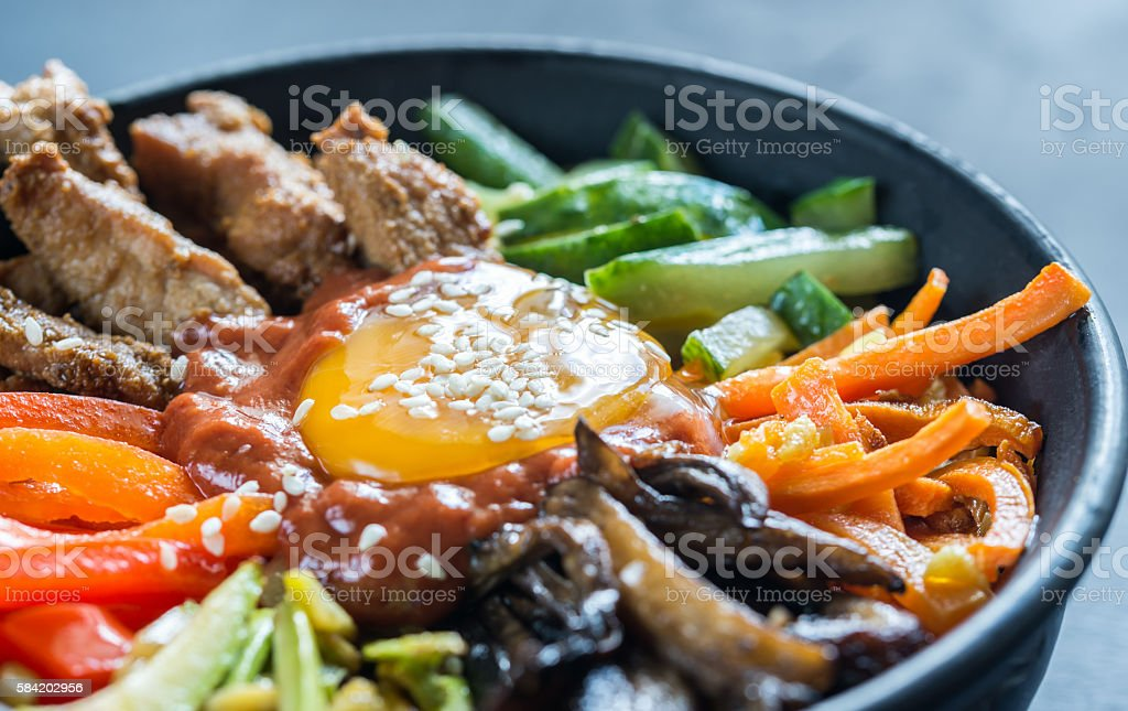 Bowl of bibimbap stock photo