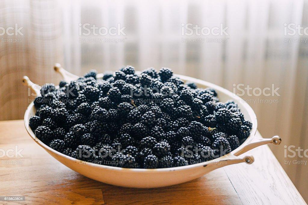 Bowl of blackberry stock photo