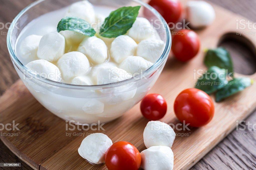 Bowl of Bocconcini mozzarella with fresh cherry tomatoes stock photo