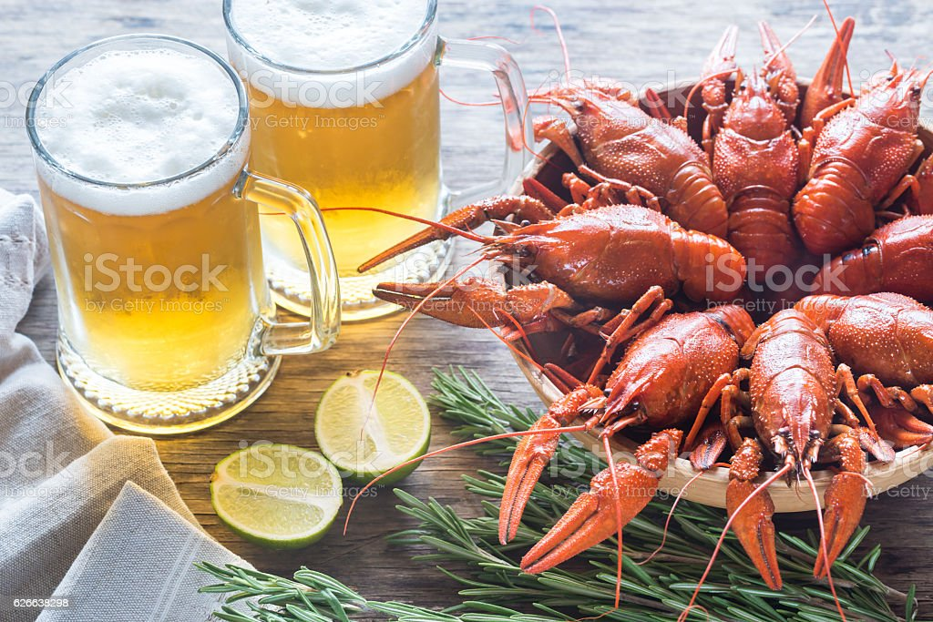 Bowl of boiled crayfish with two mugs of beer stock photo