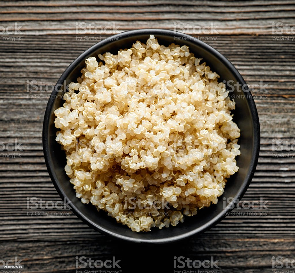 Bowl of boiled Quinoa stock photo