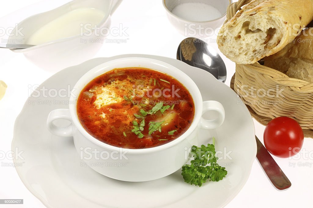 Bowl of borscht. royalty-free stock photo