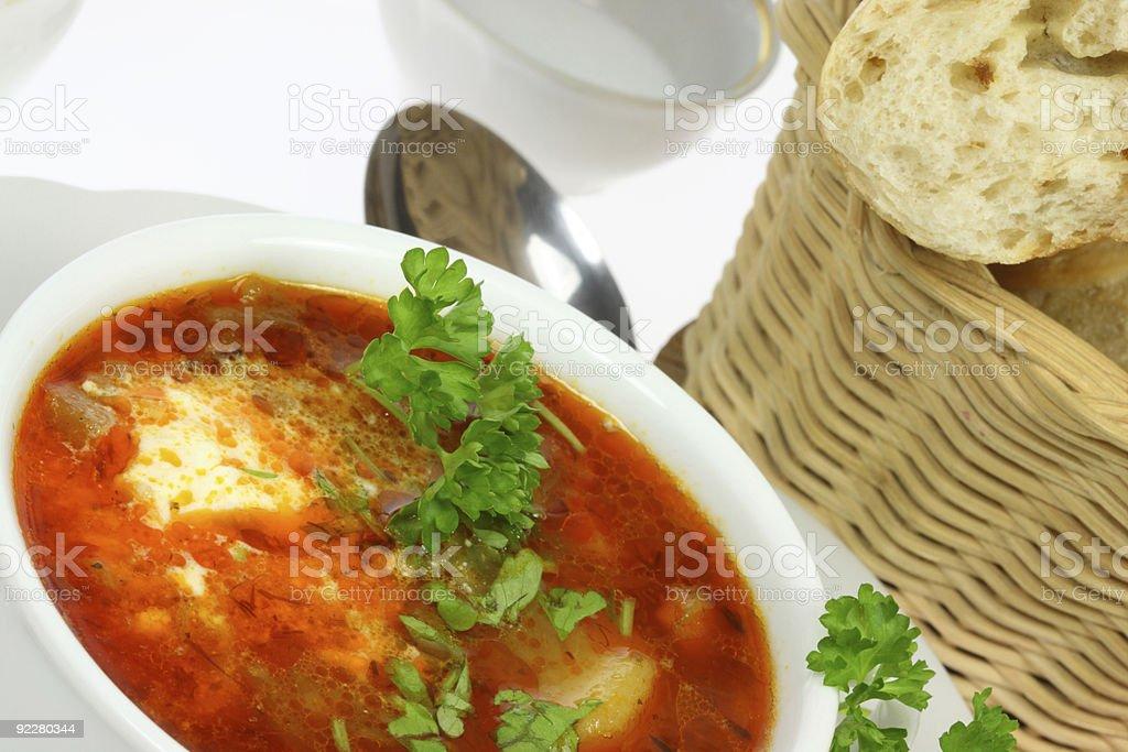 Bowl of borscht. royalty-free stock photo