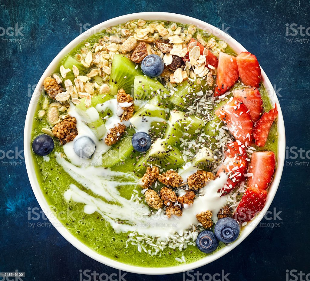 bowl of breakfast smoothie stock photo