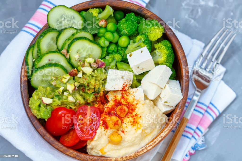 Bowl of bright healthy vegan lunch stock photo