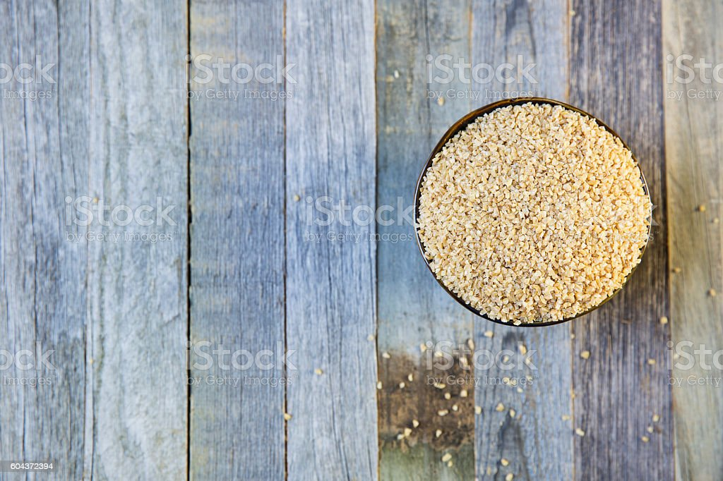 Bowl of Bulgur with Copy Space stock photo