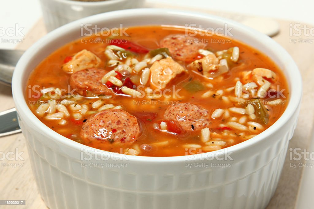 Bowl of Cajun Spicy Chicken and Sausage Gumbo stock photo