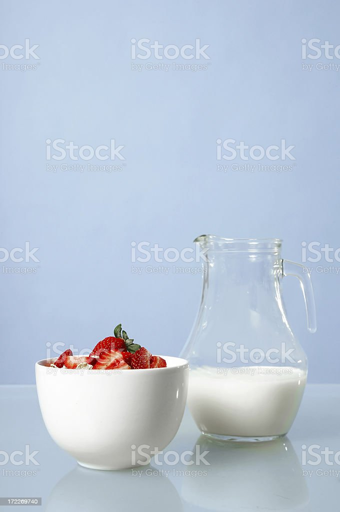 Bowl of Cereal and Strawberries royalty-free stock photo