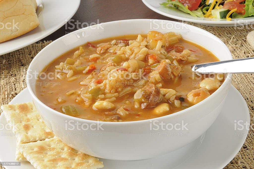 Bowl of chicken and sausage gumbo stock photo