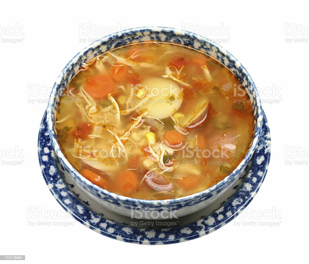bowl of chicken vegetable soup royalty-free stock photo