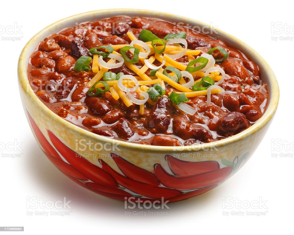 Bowl of Chili Beans Isolated On White Background stock photo