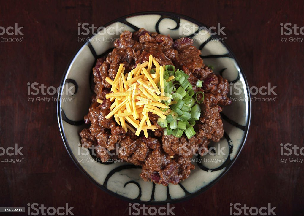 Bowl of chili con carne - overhead view stock photo