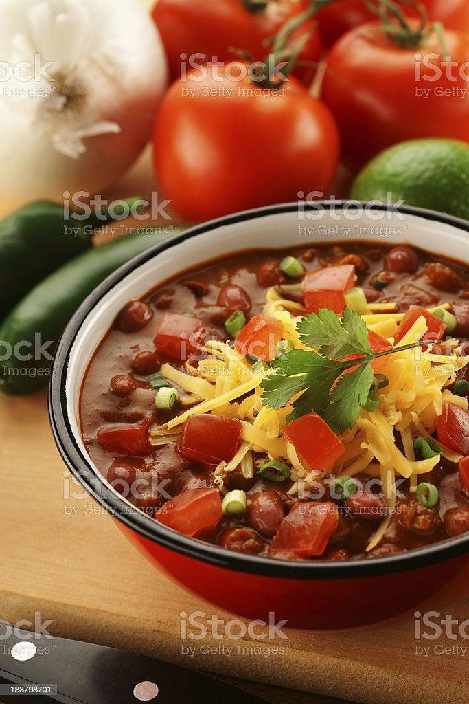 Bowl of Chili with Ingredients stock photo