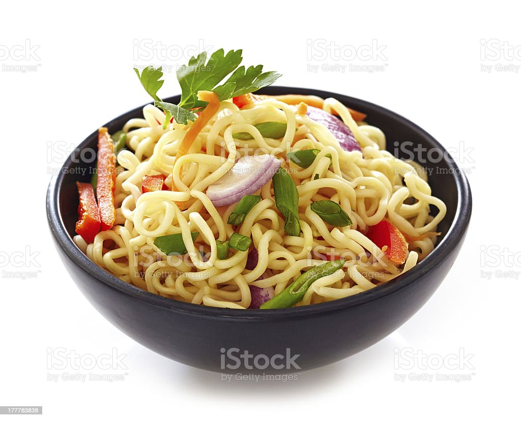 bowl of chinese noodles with vegetables stock photo