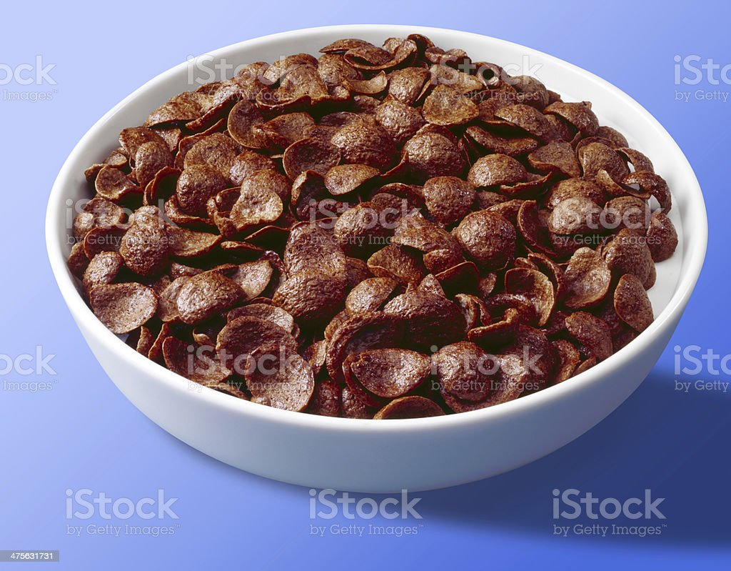 Bowl of chocolate cereal flakes (with clipping path) stock photo