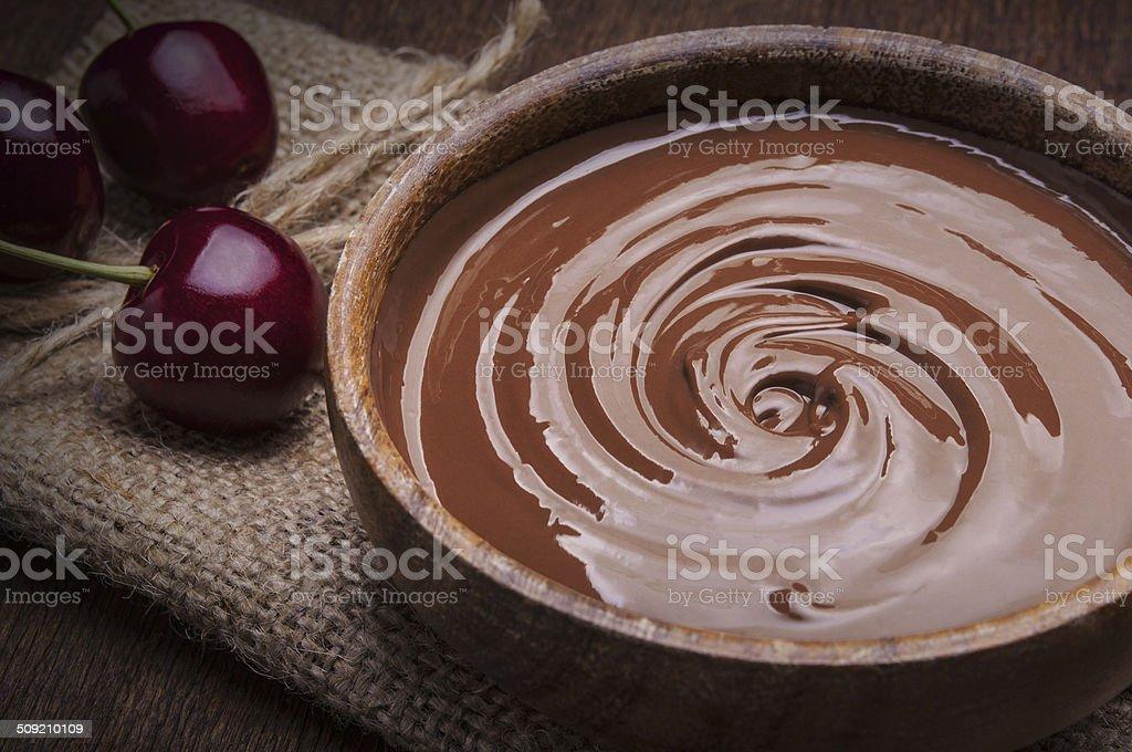 Bowl of chocolate cream stock photo