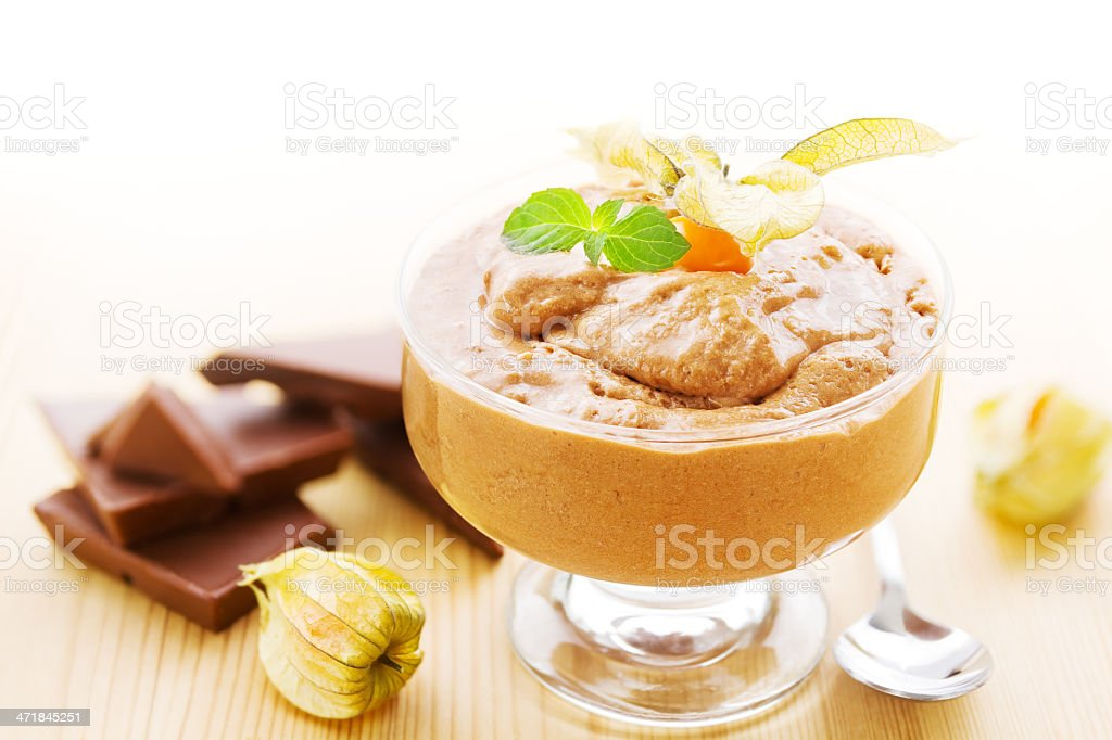 Bowl of chocolate mousse royalty-free stock photo