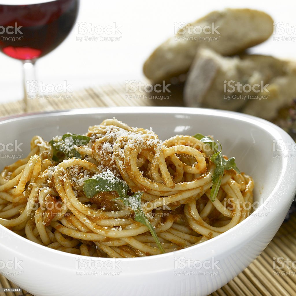 Bowl of classic pasta bolognese stock photo