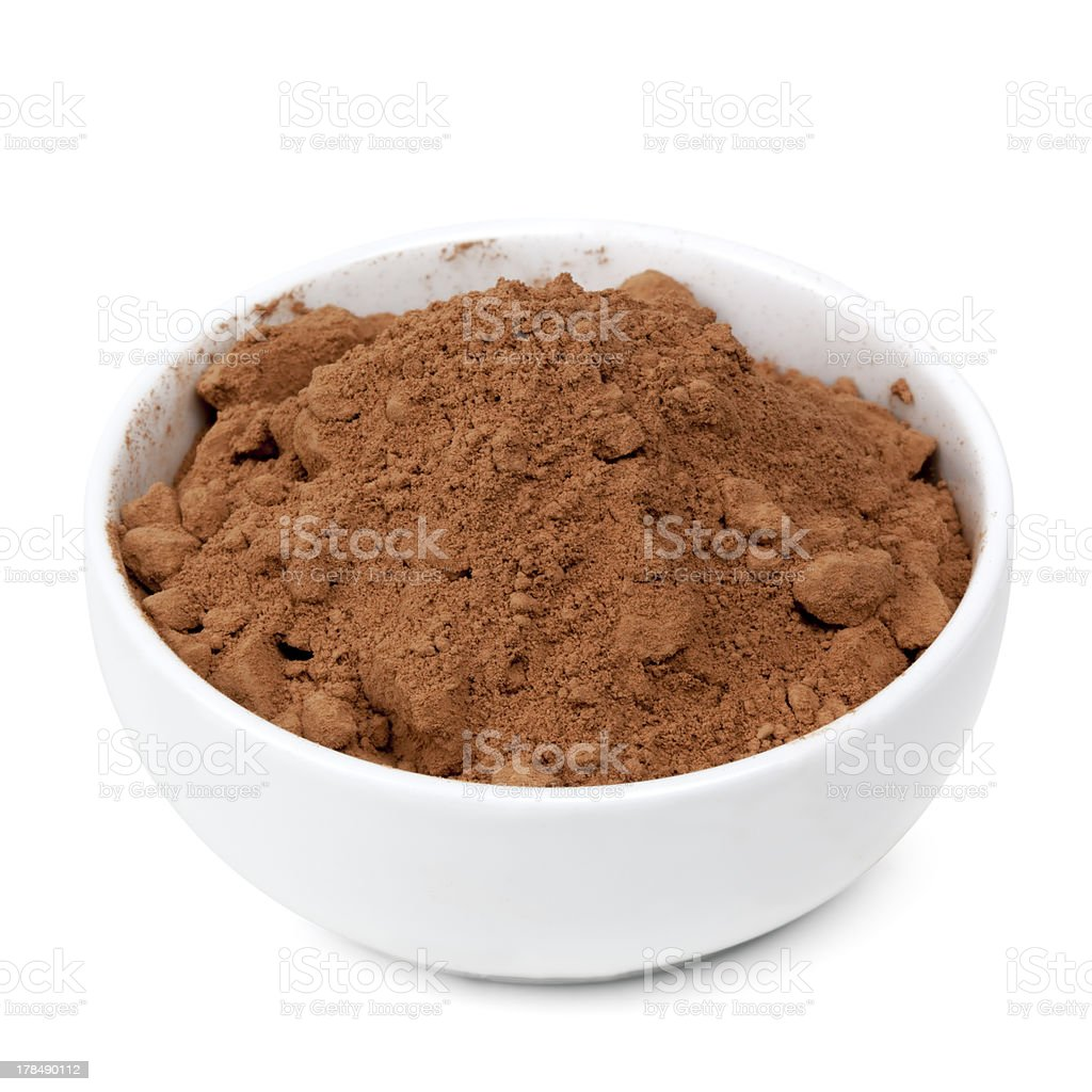 Bowl of Cocoa Powder Isolated with Path stock photo