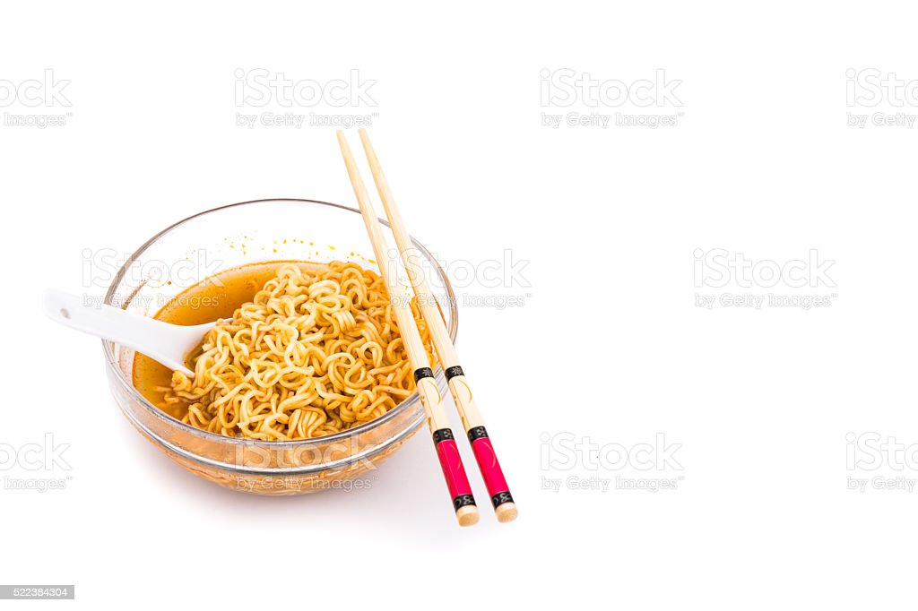 Bowl of convenient but unhealthy instant noodle with flavored so stock photo