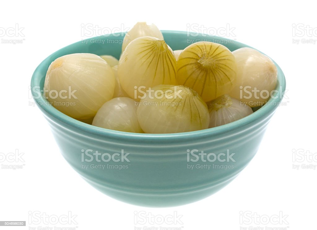 Bowl of cooked small onions stock photo