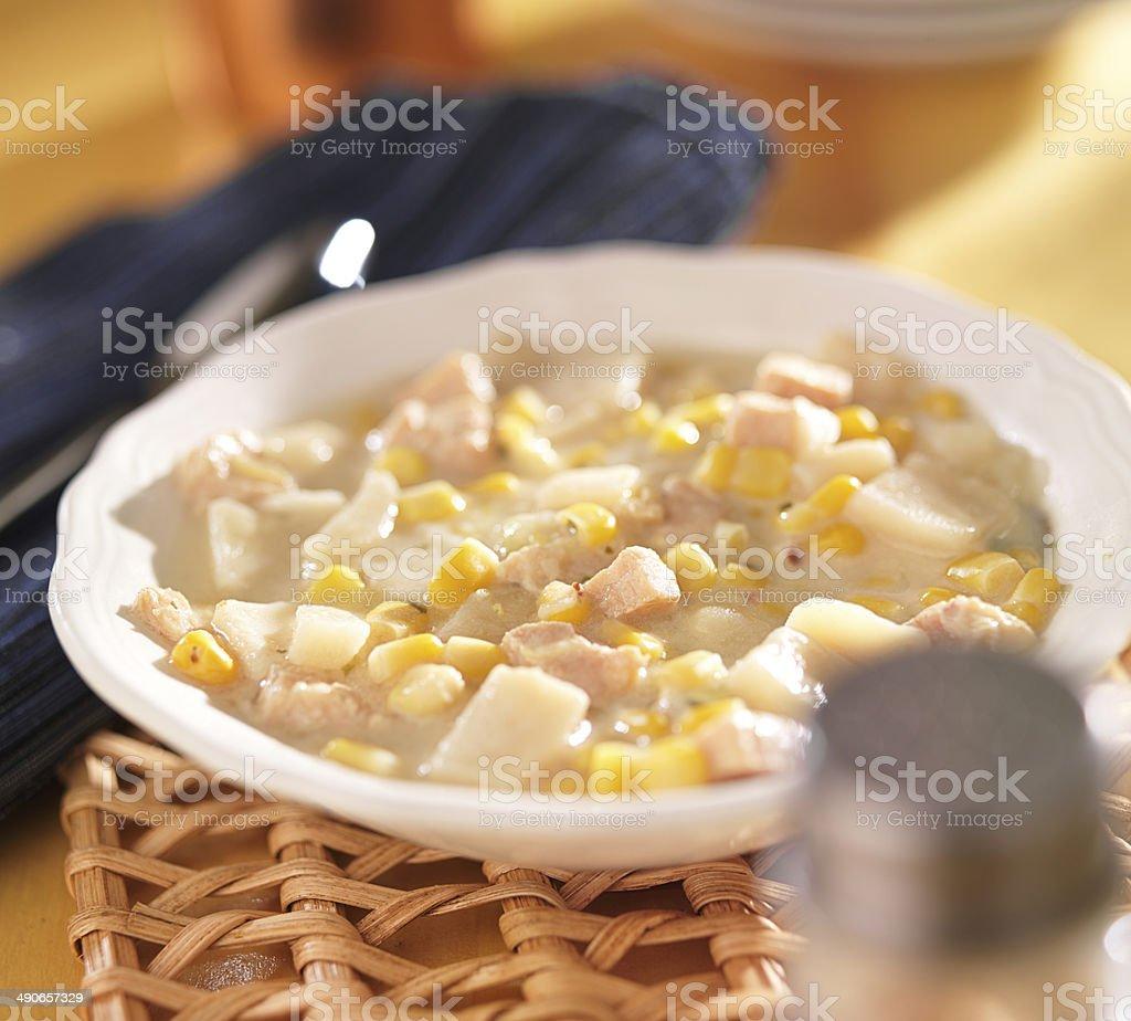 bowl of corn chowder royalty-free stock photo