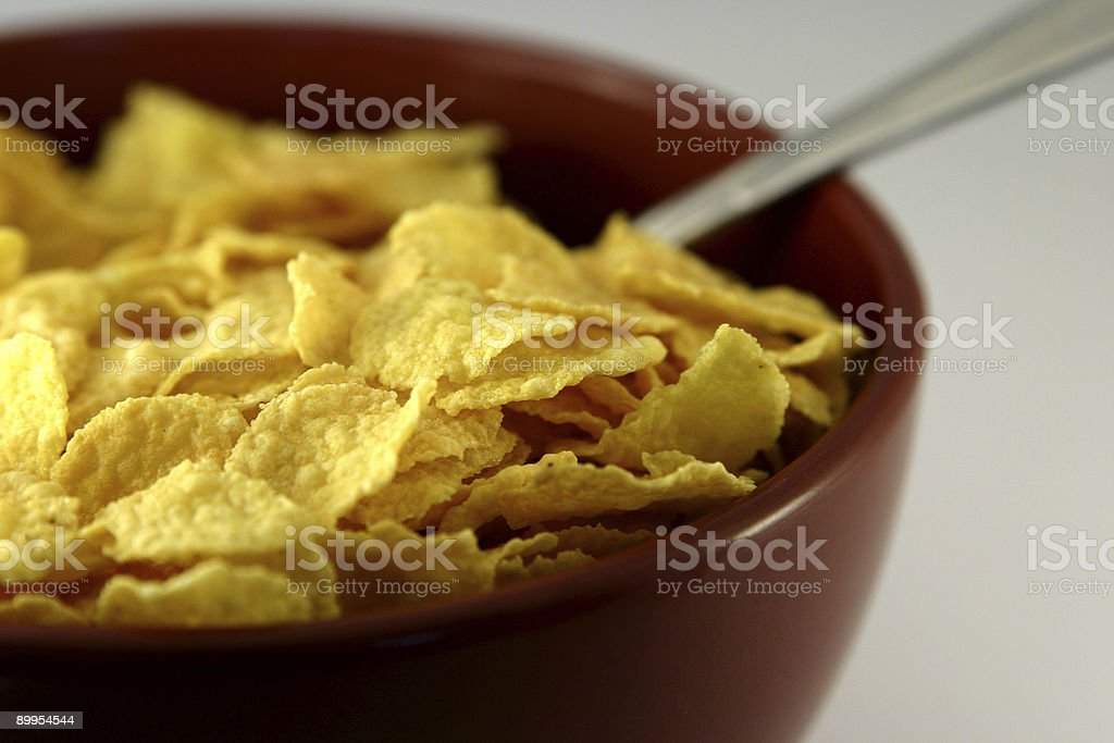 Bowl of corn flakes royalty-free stock photo