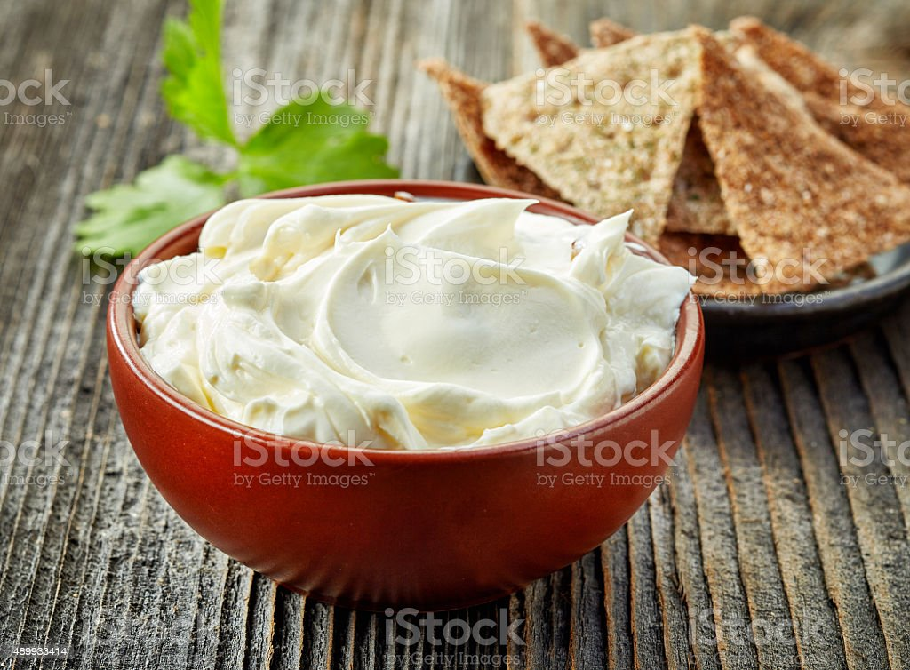 bowl of cream cheese stock photo