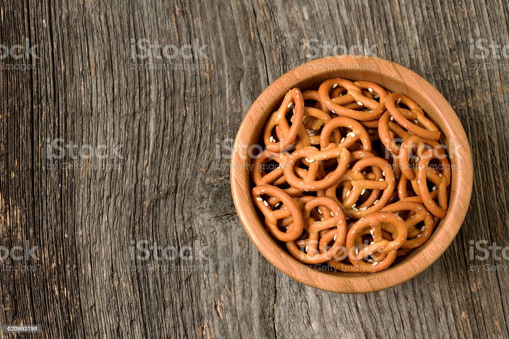 Bowl of crunchy pretzels stock photo